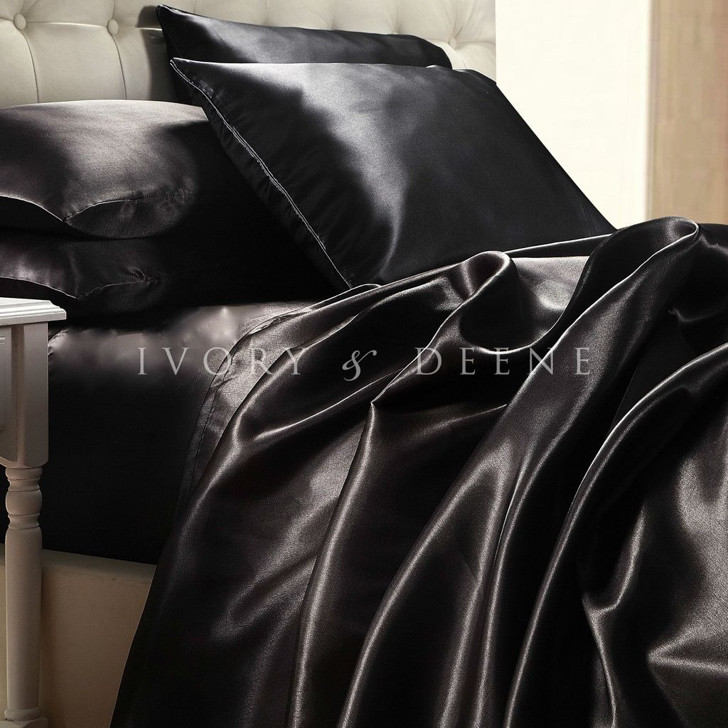luxury midnight black silk satin king size bed sheet set new hotel bedding linen - King Size Bed Sheets