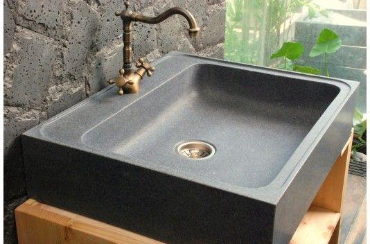 LAGOS Évier de cuisine en pierre - Timbre du0027office en Granit 70x60
