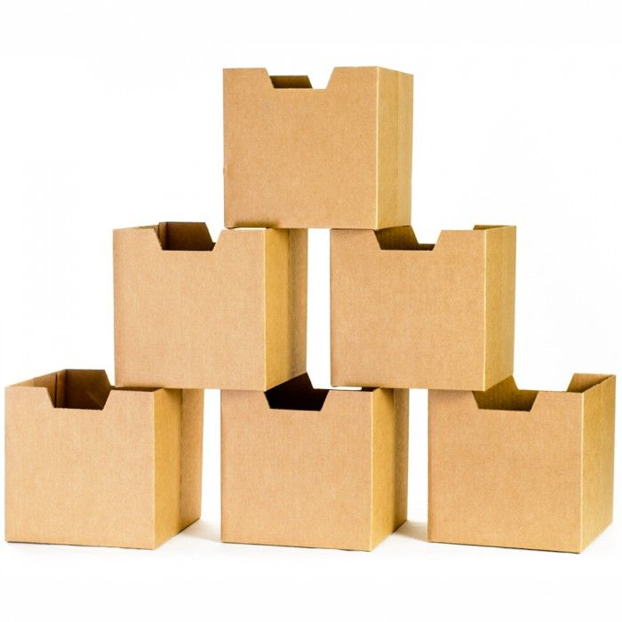 Cardboard Cubby - Sprout Cardboard Cubby Bins (6 Pack), Craft with Black Print