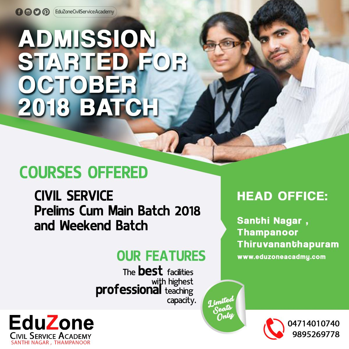 Admission Started for October 2018 Batch!!!! Hurry up