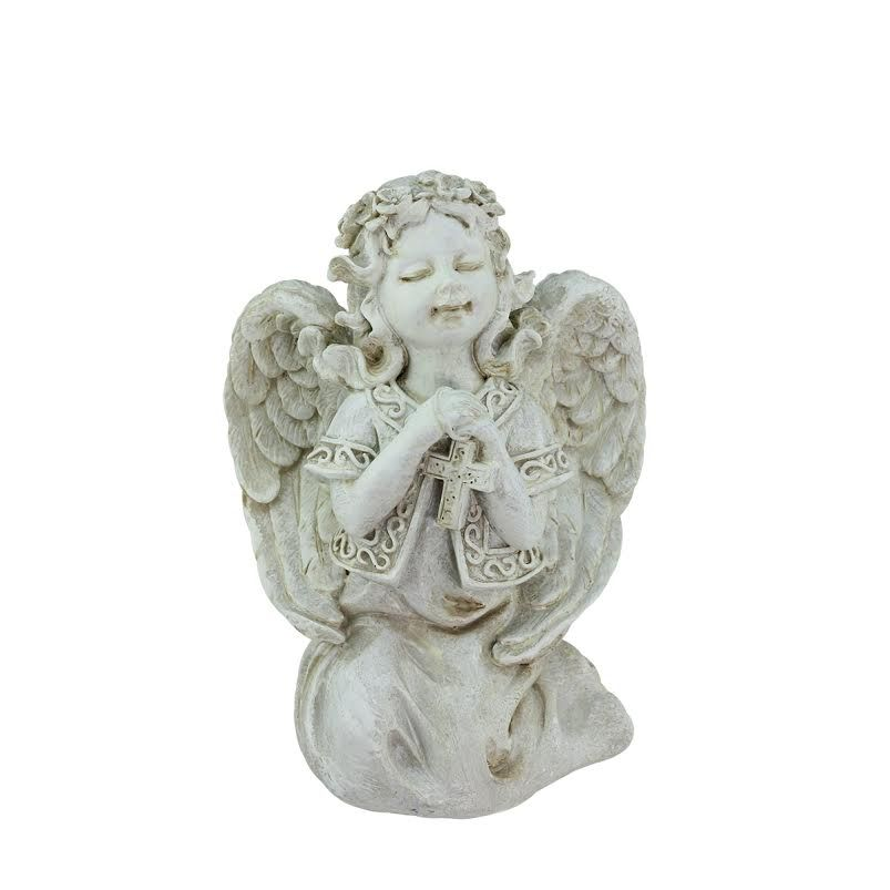 "7"" Heavenly Gardens Distressed Ivory Praying Angel Girl w/ Cross Outdoor Patio Garden Statue,, Outdoor Décor"