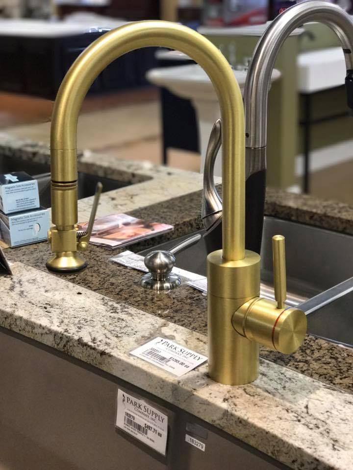 kitchen faucet in satin brass