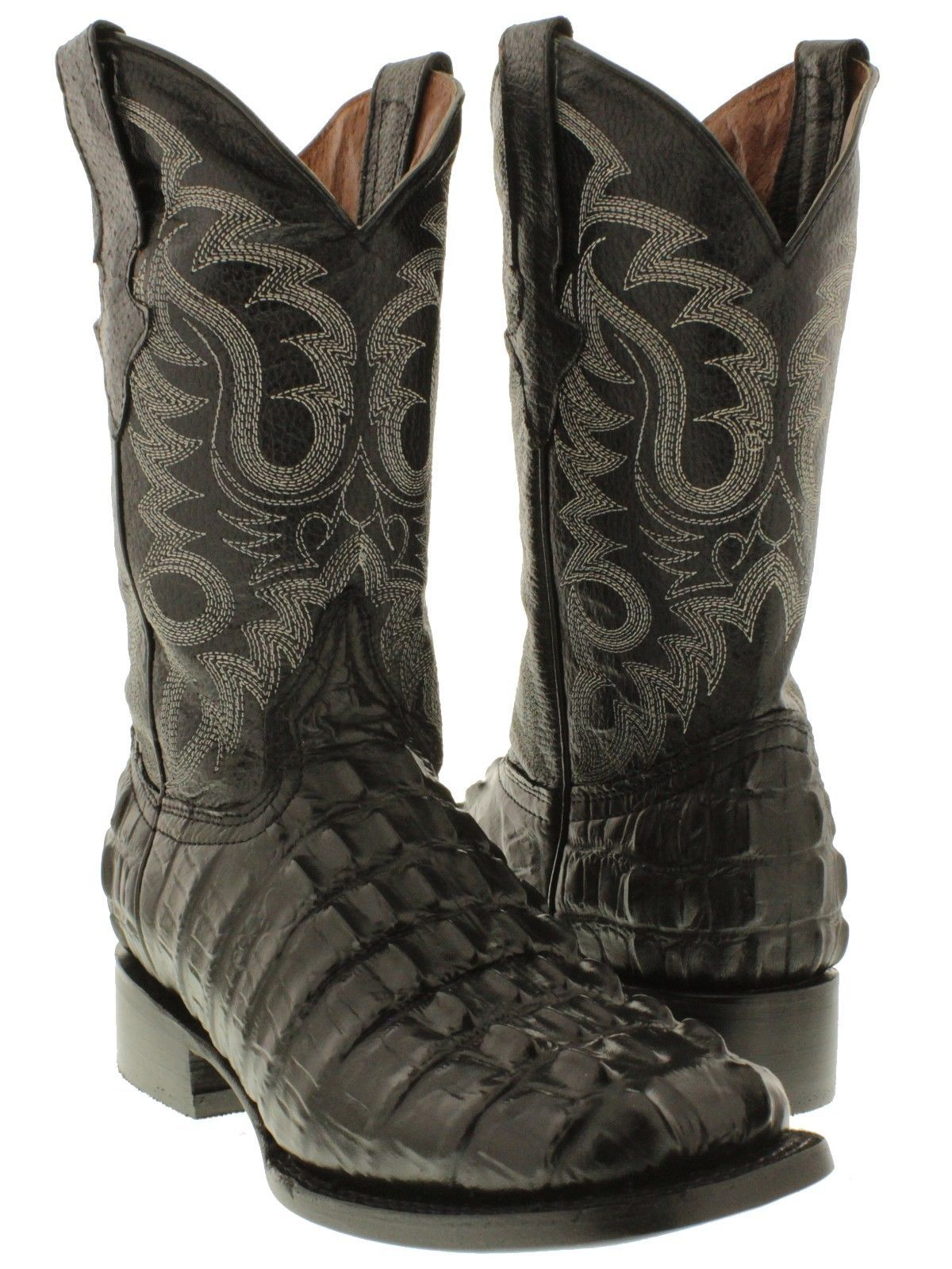 a813c03239c Men s black square toe cowboy boots crocodile alligator tail western rodeo  new