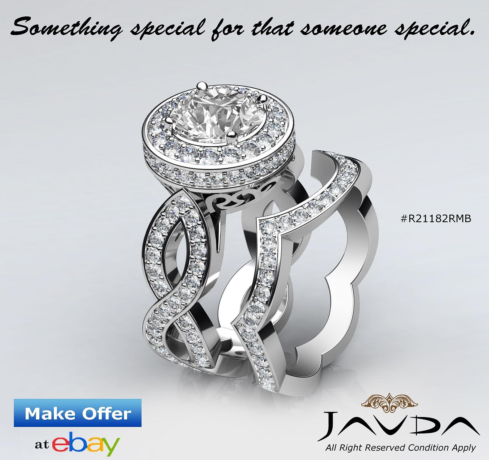 Huge Halo Round Diamond Bridal Set Engagement Pave Ring GIA I VS2 Platinum 2.8ct