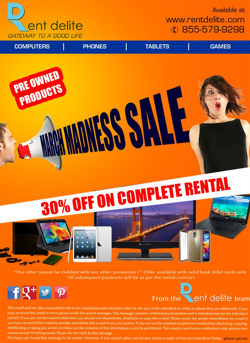MarchMadness Sale on RentDelite!! Flat 30%OFF on #Preowned #Products.  #phones #laptops #Videogames