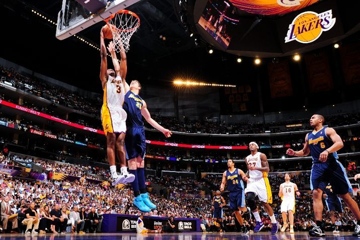 April 29 Devin Ebanks Goes To The Basket Against Timofey Mozgov Of The Denver Nuggets In Los Angeles Lakers Basketball Lakers Basketball Los Angeles Lakers