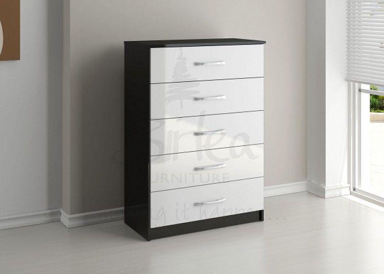 2341 birlea lynx black with white gloss 5 drawer chest of drawers