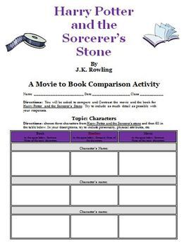 Harry Potter And The Sorcerers Stone Movie Vs Book Activity With