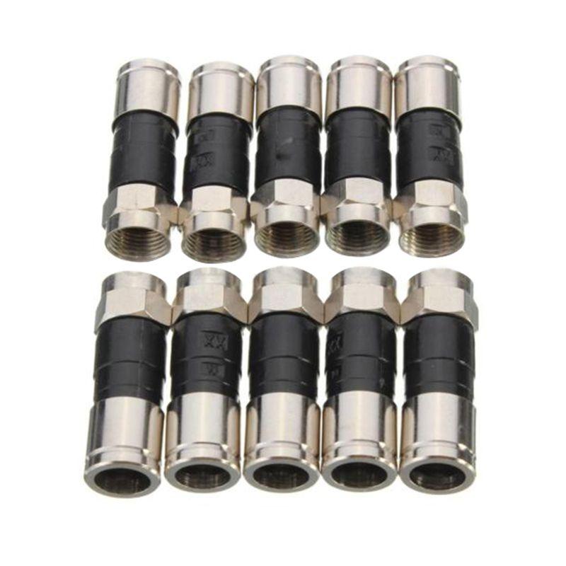 10x RG6 Ftype compression seal alignment plug connectors