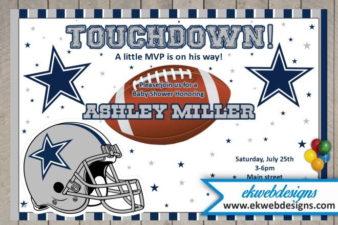 Custom Dallas Cowboys Baby Shower Invitation Football Themed Baby