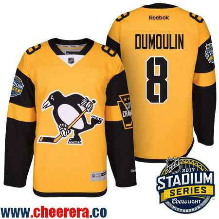 Men's Pittsburgh Penguins #8 Brian Dumoulin Yellow Stadium Series 2017 Stanley Cup Finals Patch Stitched NHL Reebok Hockey Jersey
