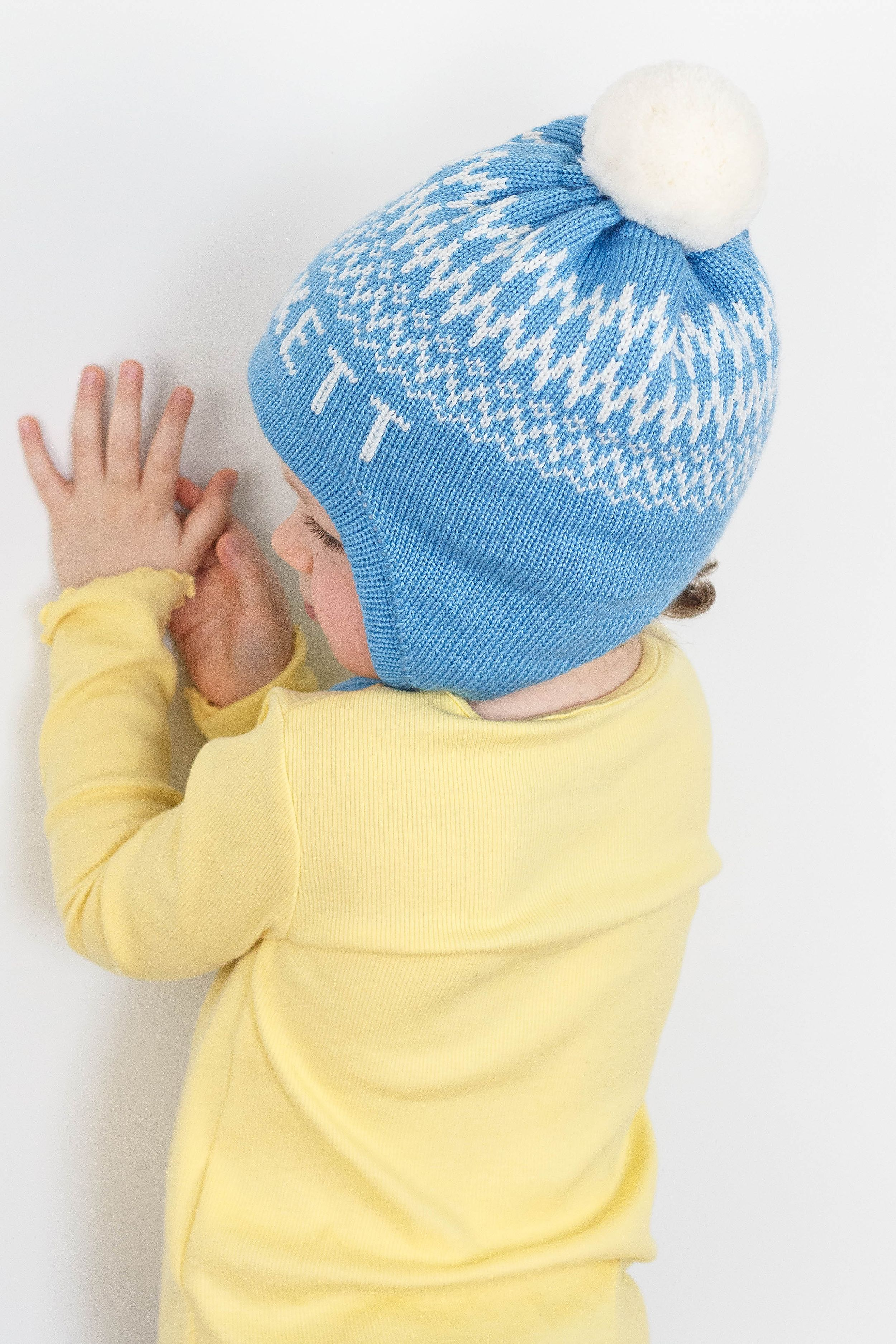 Personalized Ear Flap Beanie With Pom Pom For Boys And Girls Custom Toddler Kids Knit Winter Hat With Name Knitted Hats Kids Toddler Knit Hat Knitting For Kids