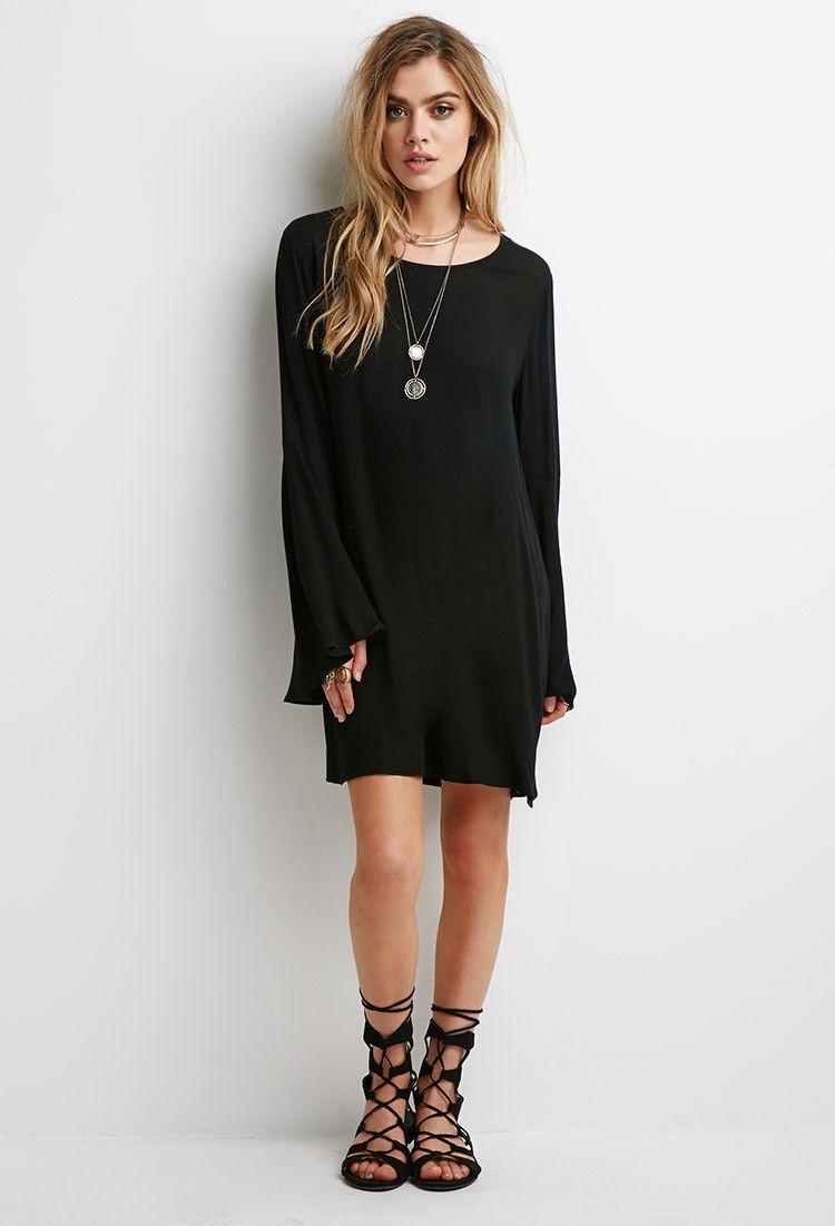 Crochetpaneled bell sleeve dress forever
