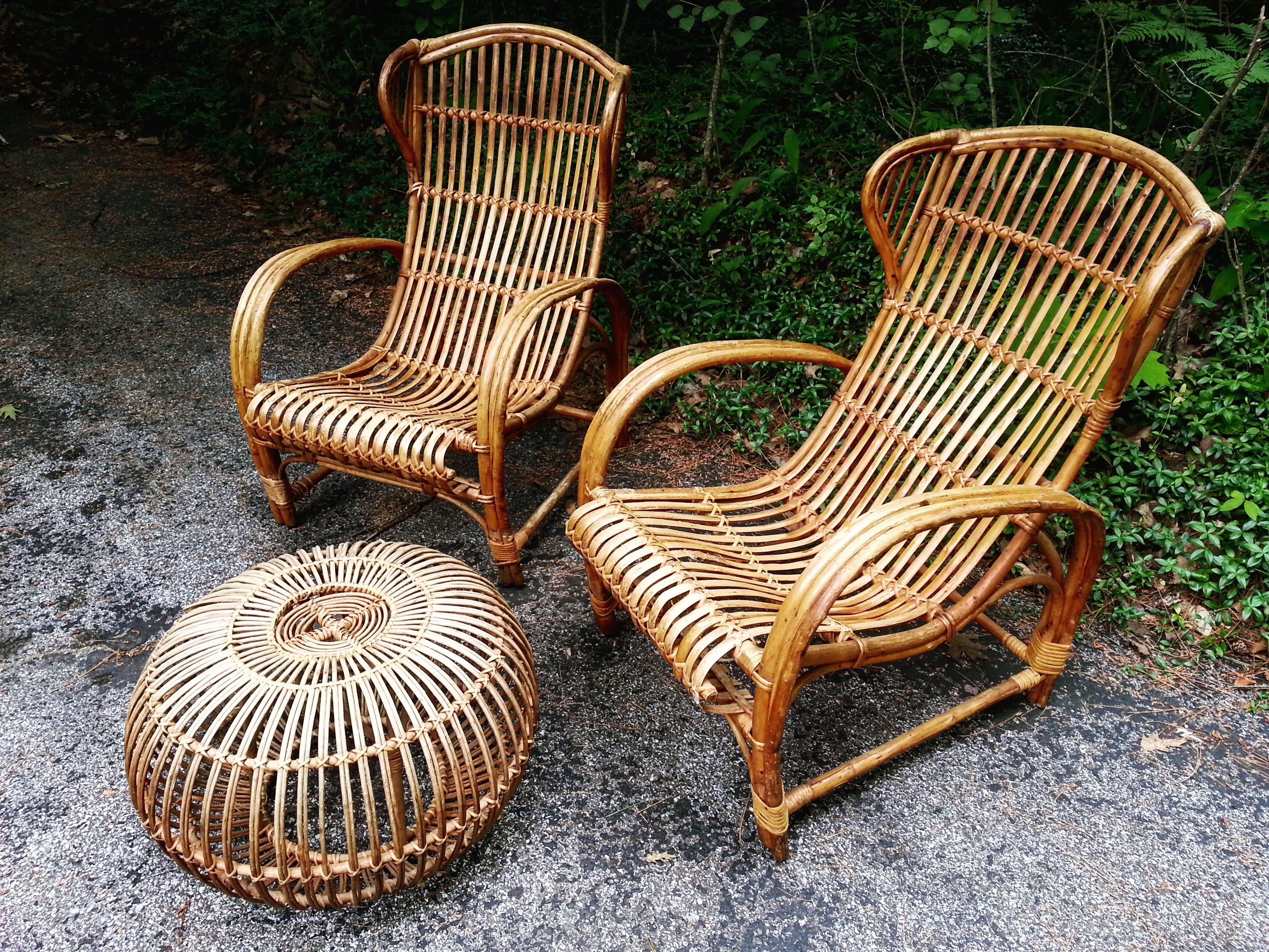 Park Art My WordPress Blog_Vintage Rattan Chair With Ottoman