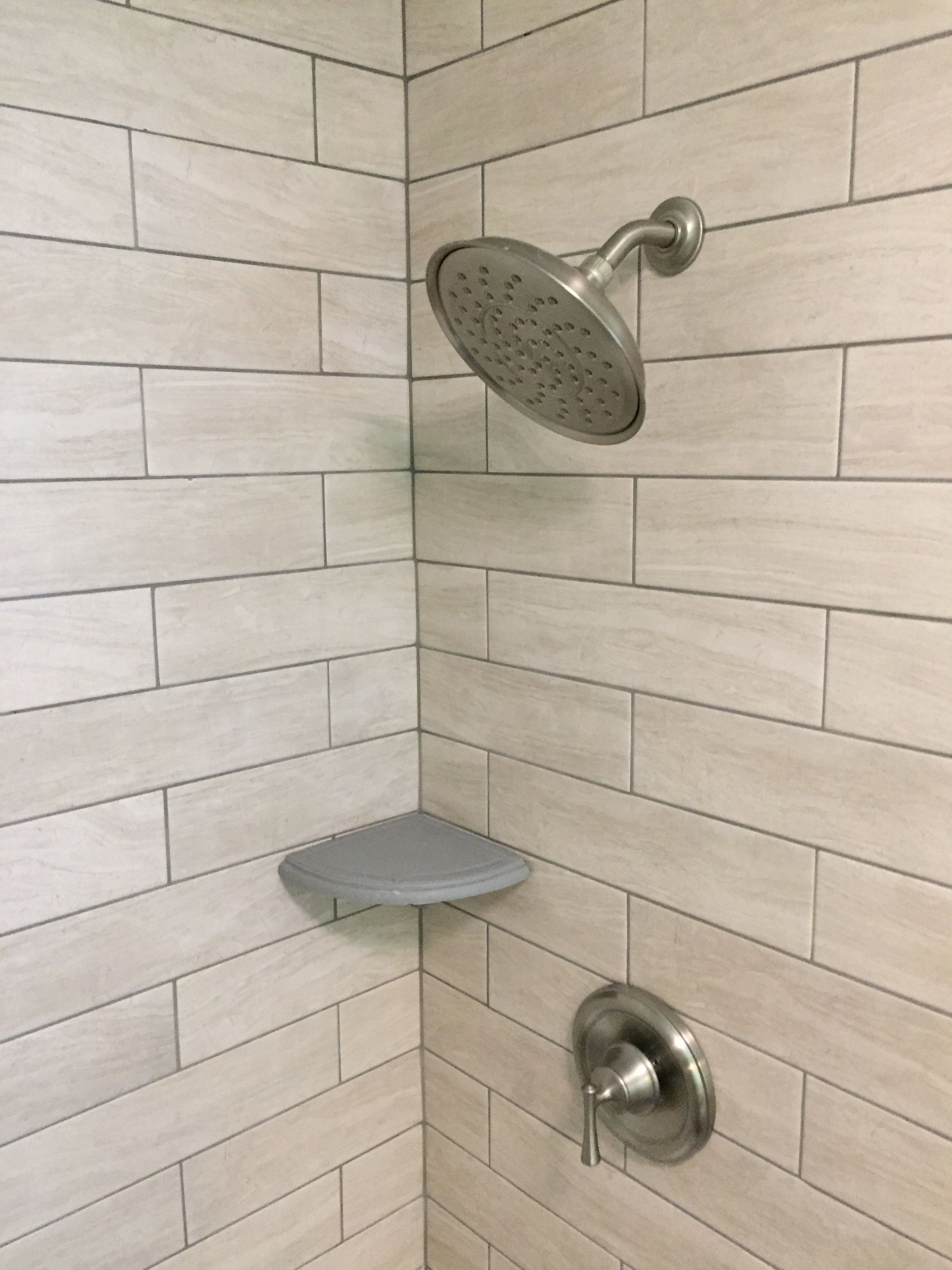 Add A Shampoo Corner Shelf To Your Bath After Tile Installs In Five Minutes And Is A Permanent Solution To Those Bott With Images Corner Shelves Shower Shelves Shower Tile