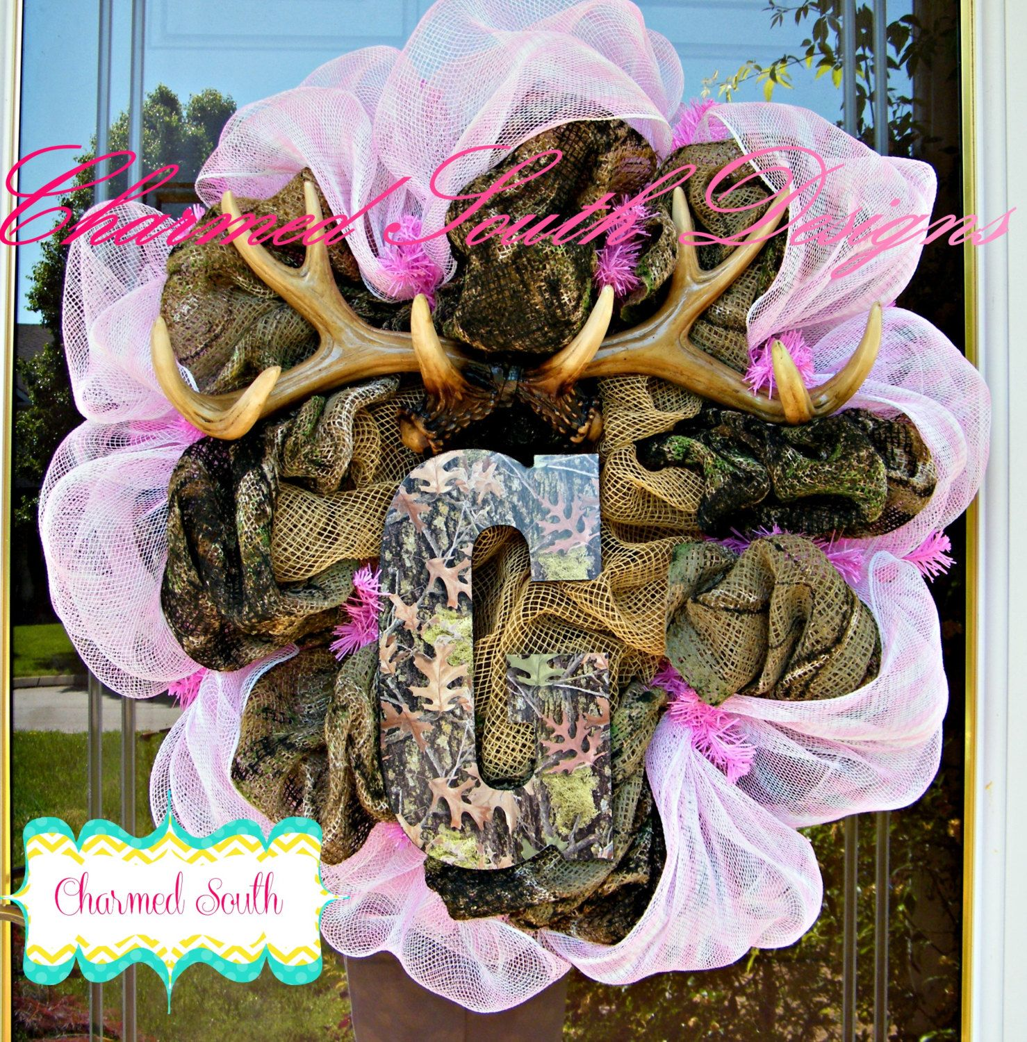 baby mossy oak deco mesh wreath by charmedsouth on etsy