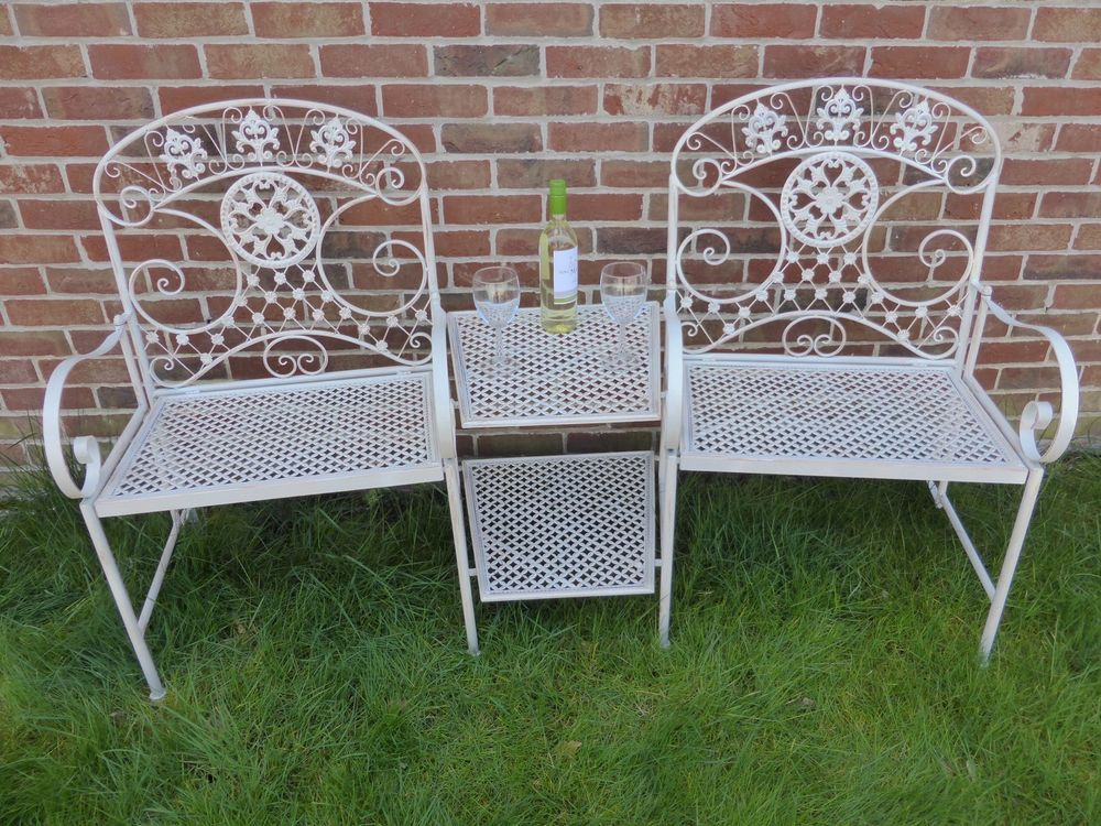 Charmant Cream 2 Seater Loveseat Metal Garden Bench   2 Chairs With Table   Love Seat