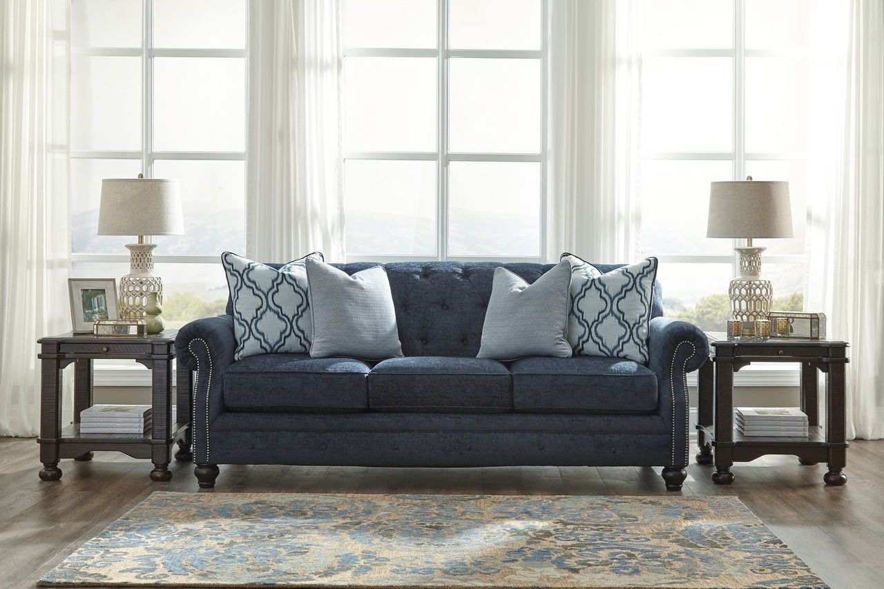 Navy Tufted Sofa American Home