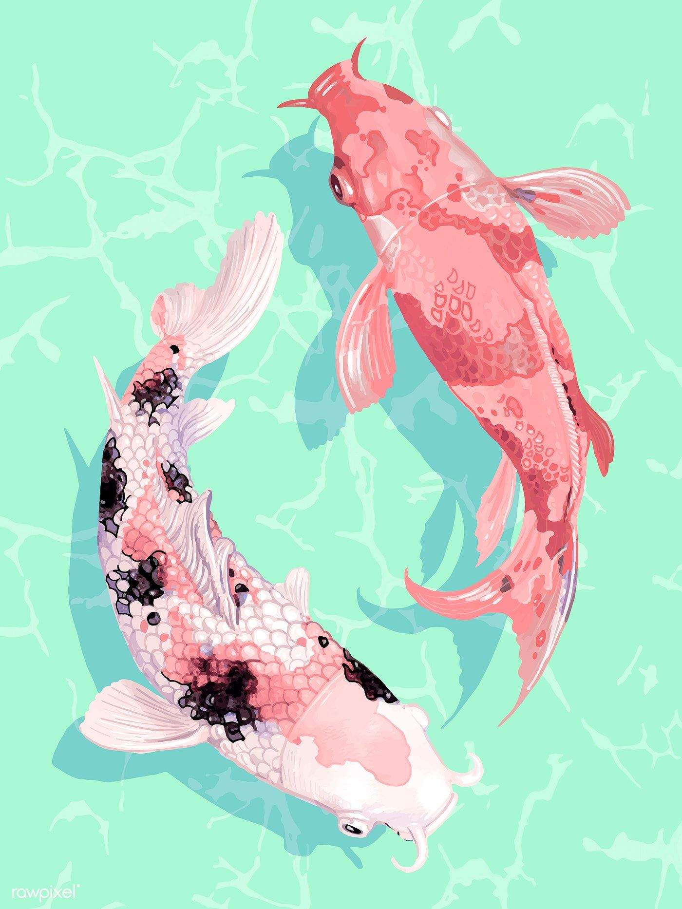 Two Japanese Koi Fish Swimming Wall Art Print And Poster Vector Premium Image By Rawpixel Com Techi Koi Fish Drawing Koi Art Japanese Koi