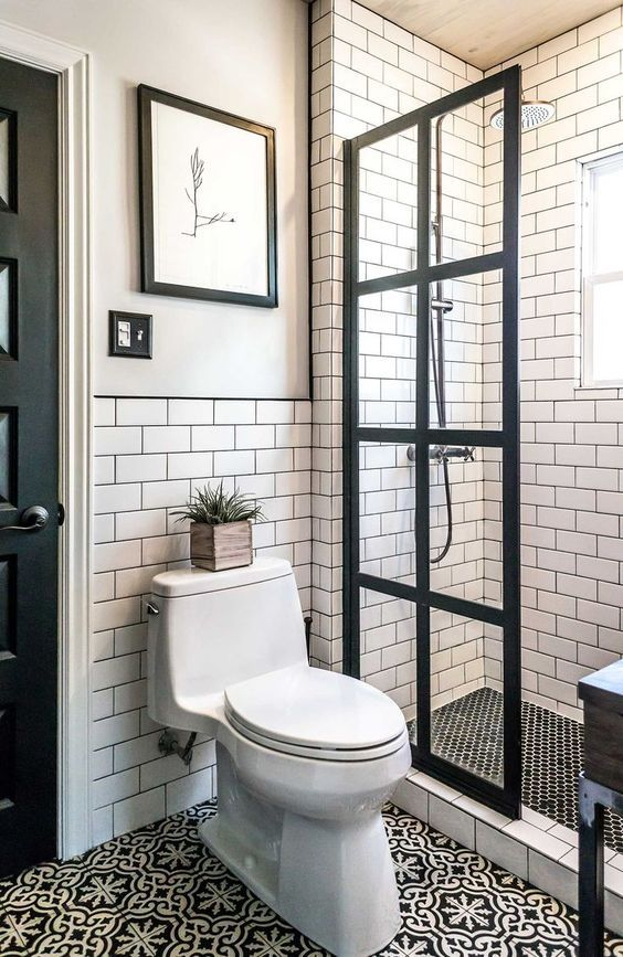 Vintage Modern Bathroom Style With A White Gray And Black Color