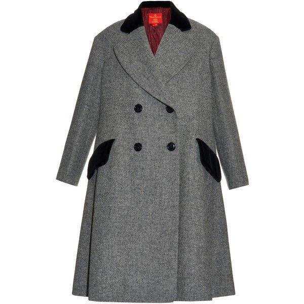 Vivienne Westwood Red Label Princess Harris-tweed coat (€1.615) ❤ liked on Polyvore featuring outerwear, coats, grey, gray coat, oversized coat, tweed coat, gray tweed coat and grey coat