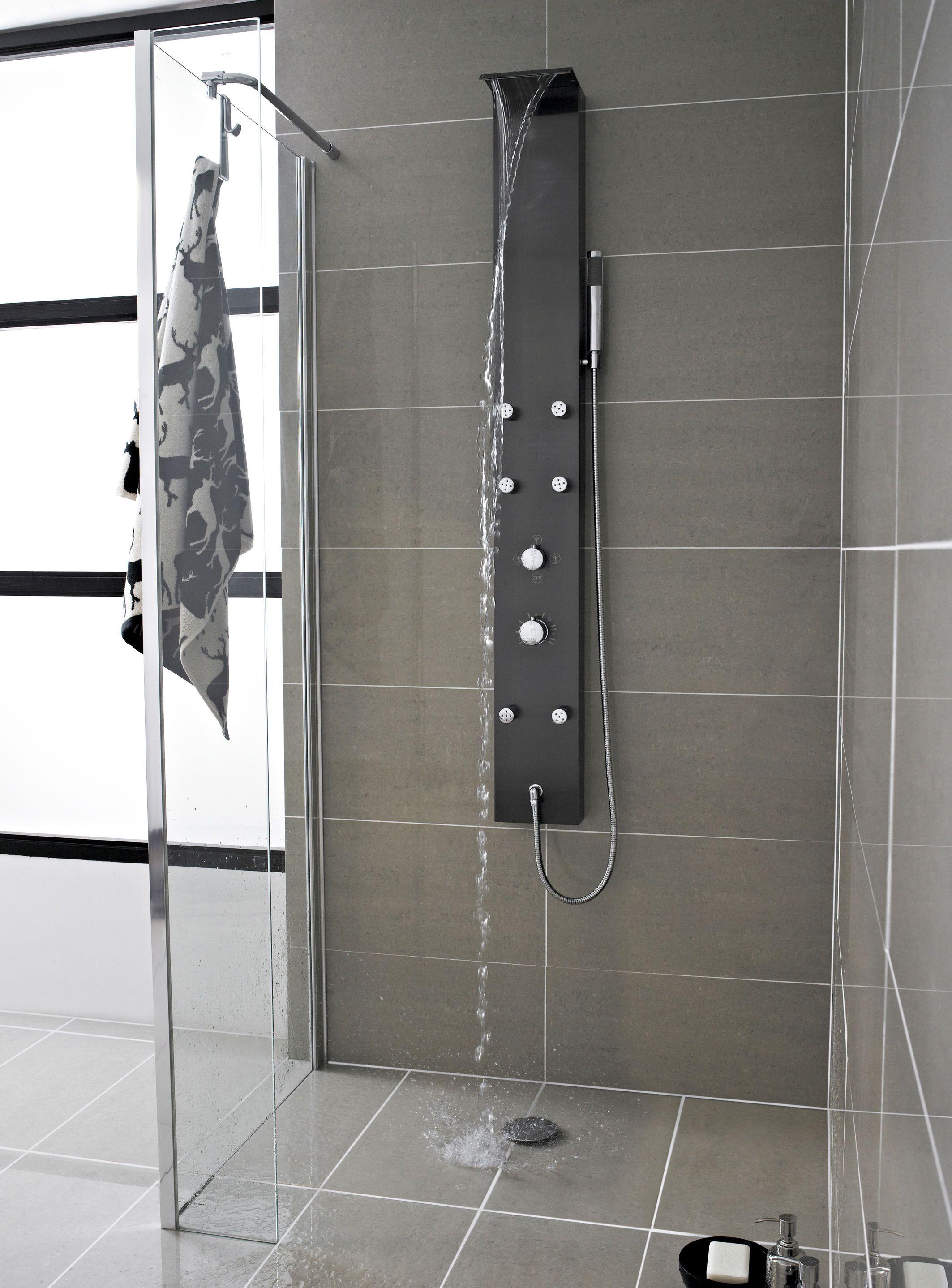 Edelstahl Thermostatisches Duschpaneel mit Wasserfall Mix