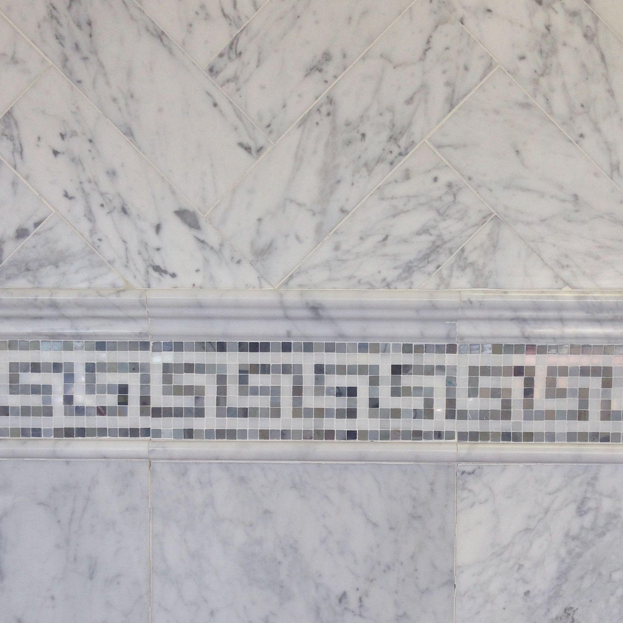 6 12 Bianco Carrara Marble Tile With Greek Key Border And