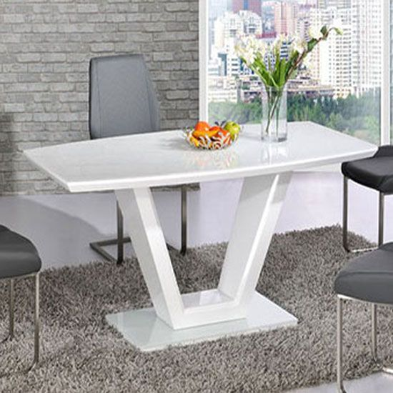 Ventura White High Gloss Finish V Shape Base Dining Table Only Endearing High Gloss Dining Room Furniture Decorating Design