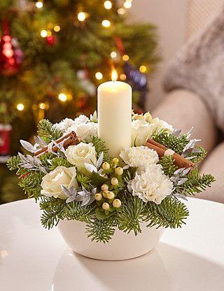 White Orchid Table Arrangement M S Christmas Flower Arrangements Christmas Arrangements Christmas Floral Arrangements