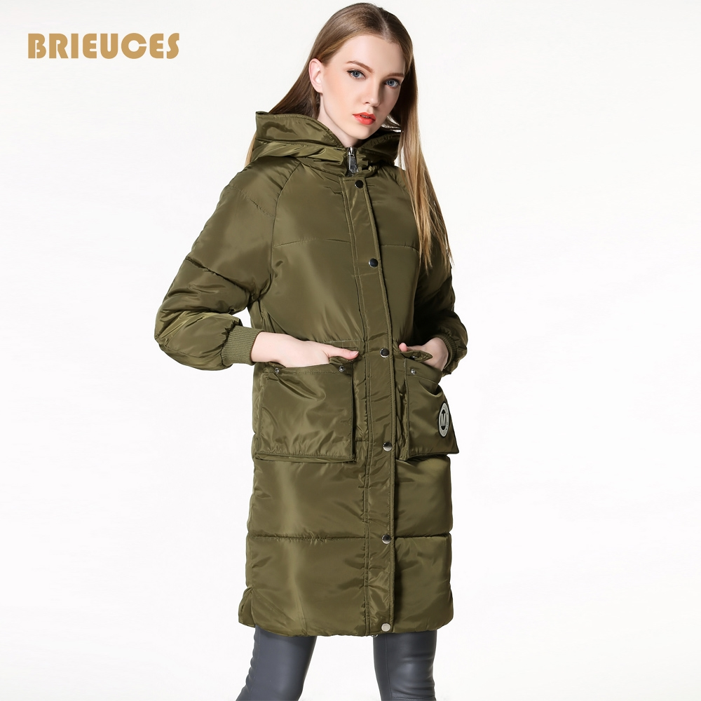 32.49$  Buy now - Brieuces 2017 winter  Air Force warm winter jacket women insignia army green long jacket women thick hooded jacket cotton down  #magazineonlinewebsite