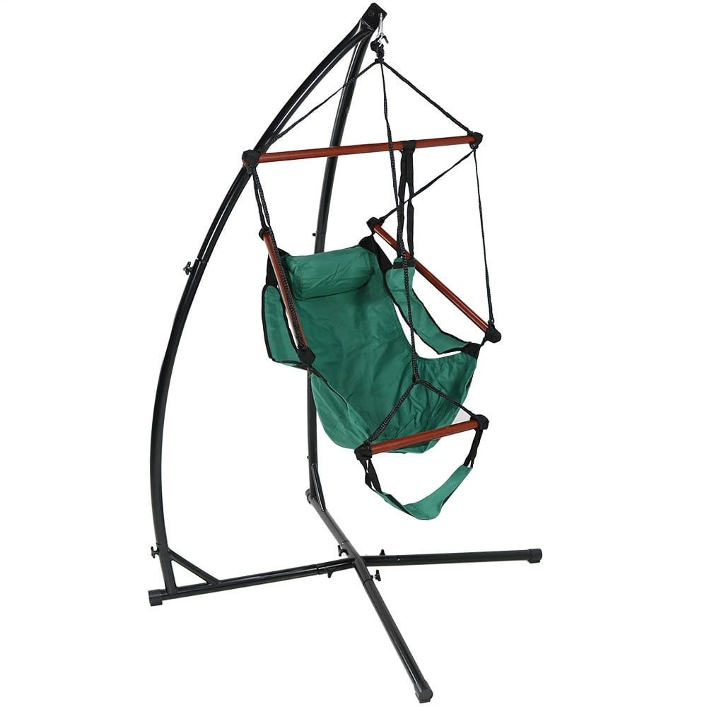 hanging chair stand only covers johannesburg sunnydaze durable x and hammock set or you choose green patio furniture