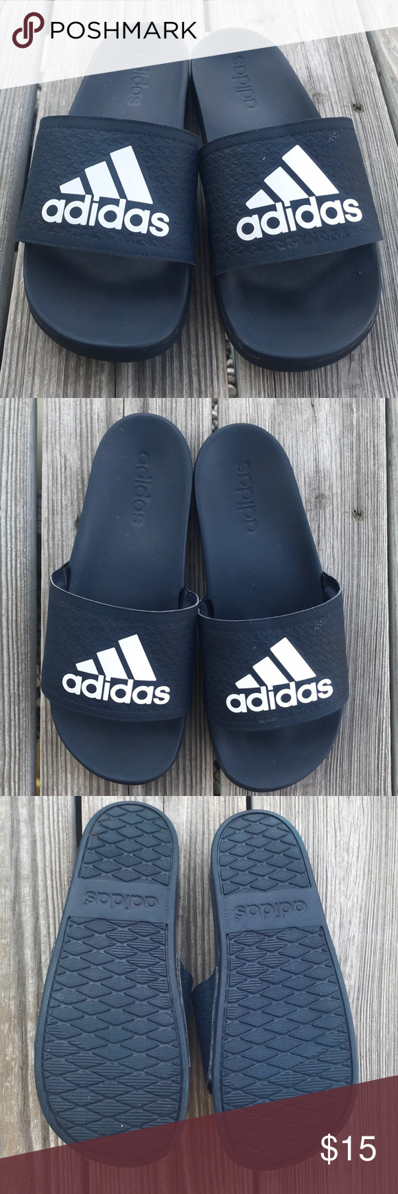 7ef45e85a9962 Adidas Slides Adidas Cloudfoam LogoSlides Rubber with cushioned foams upper  strap adidas Shoes Sandals