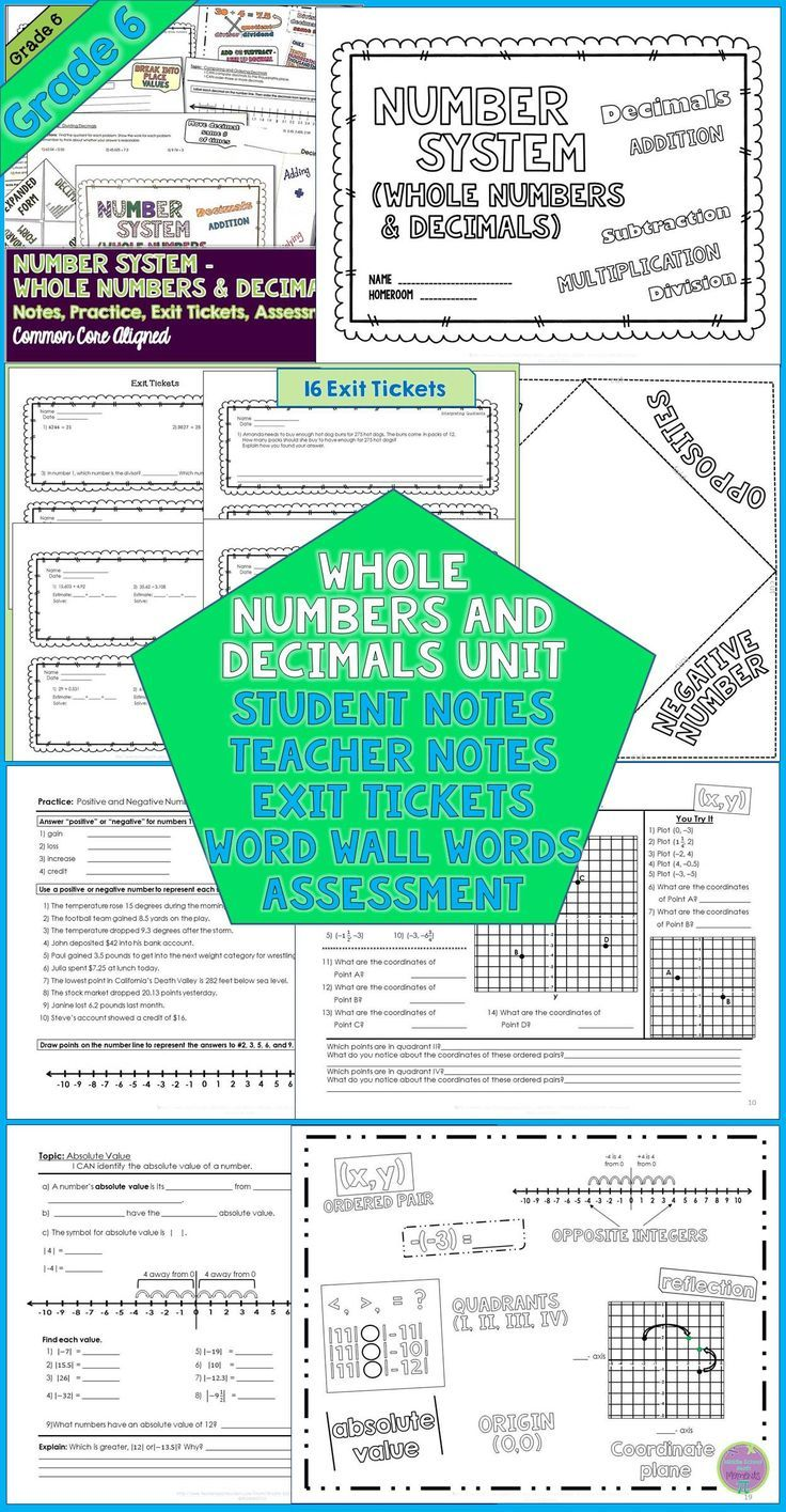 Whole Numbers and Decimals Unit for Grade 6 | Mathematics ...