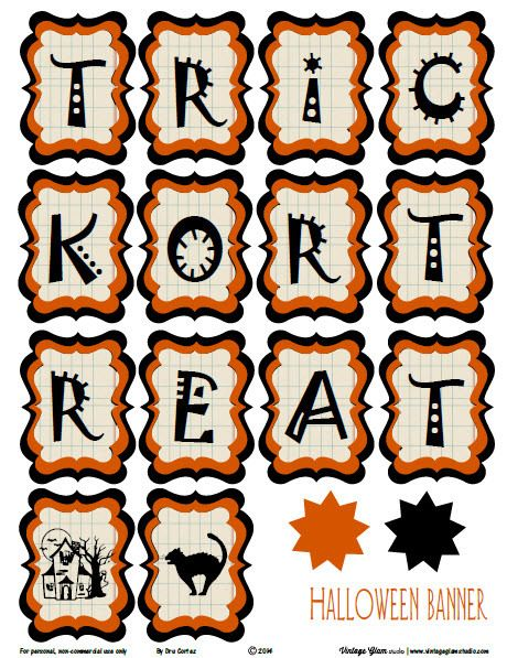 Halloween banner free printable download halloween banner vintage glam and free printable - Printable halloween decorations ...