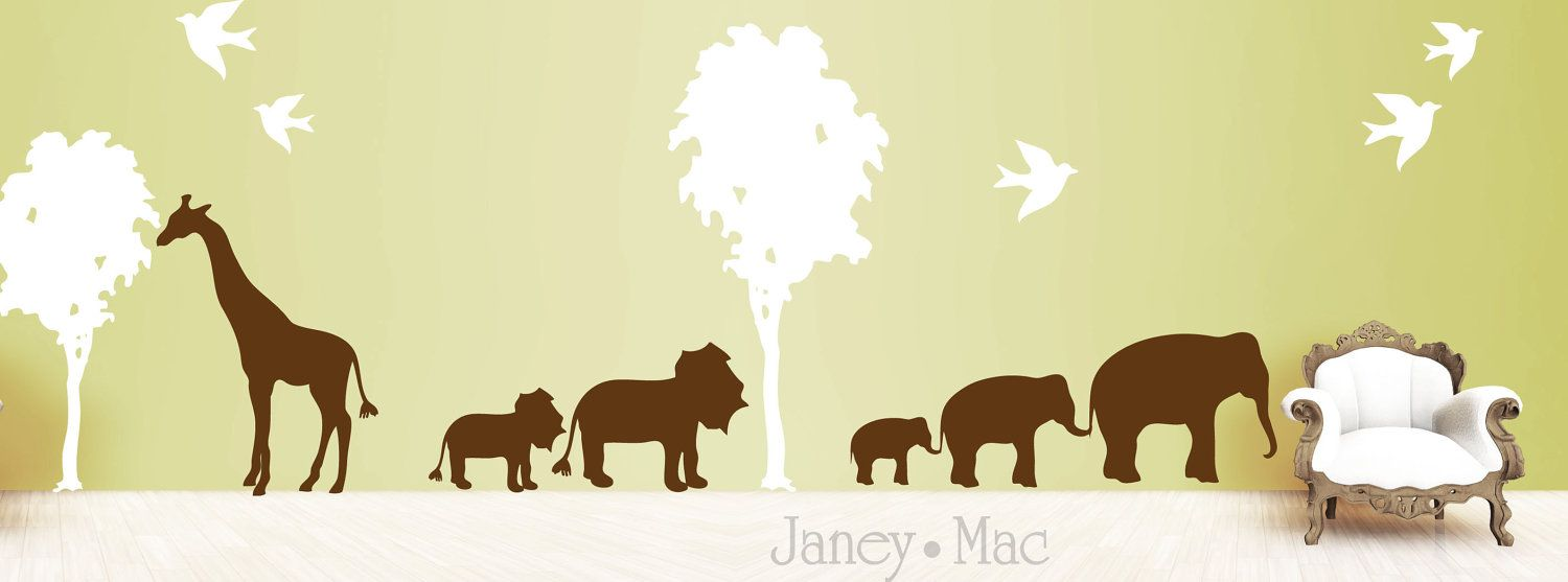 Animal Wall Decal with Trees - Safari Jungle with Birds Elephants ...