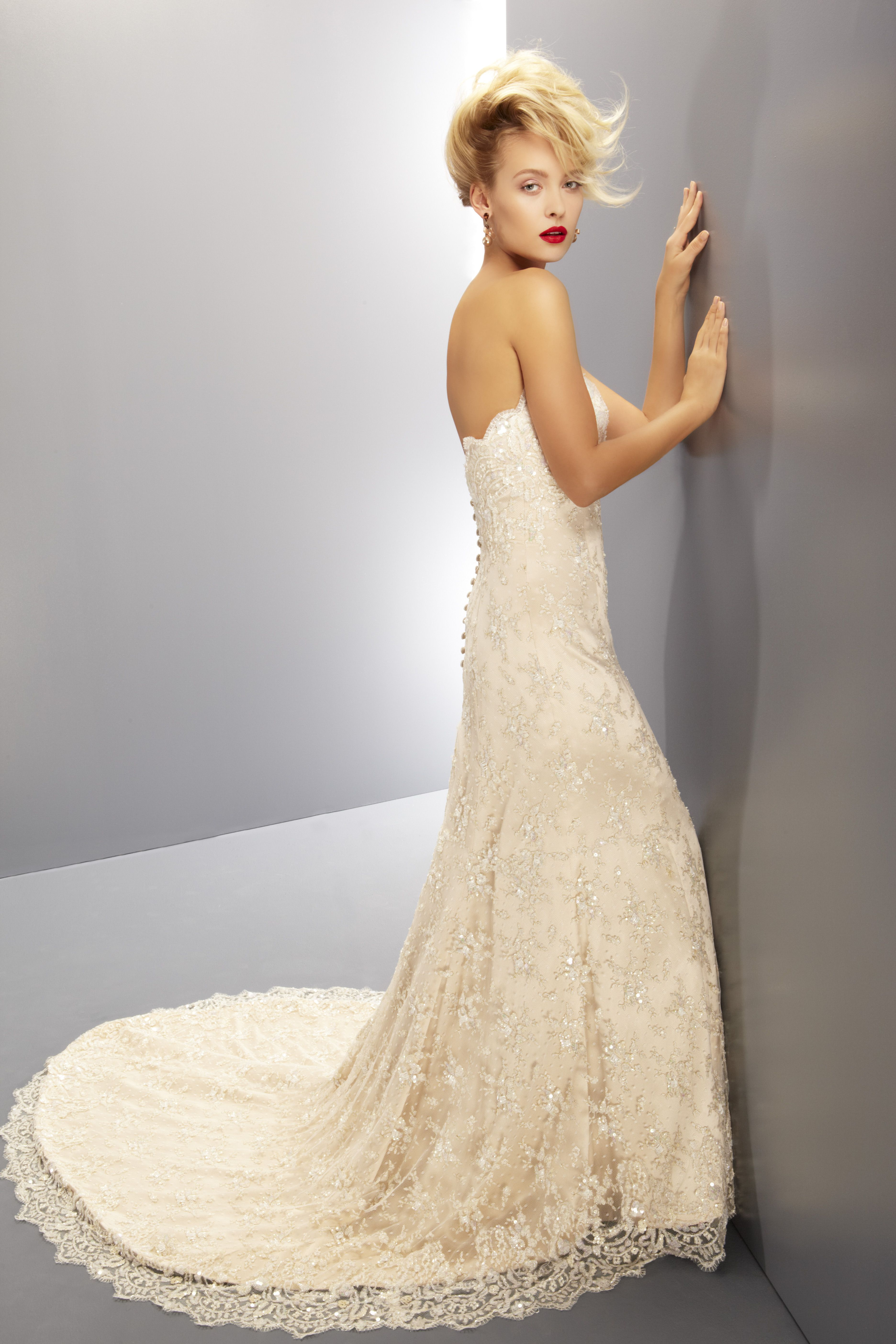 Bedazzled Strapless Gown With Boned Bodice And Sweetheart Neckline Skirt Panning Out From The Lower Hip Forming A Flattering Silhouette