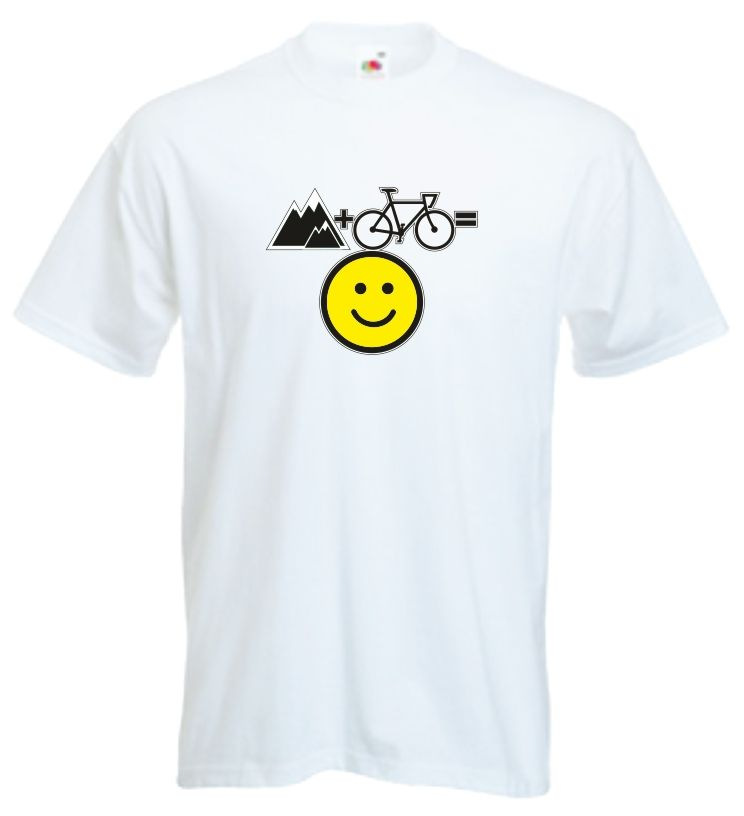 Mens White T Shirt - Mountain + Bike = Happy Smiley Face T Shirt Fun Cycling…