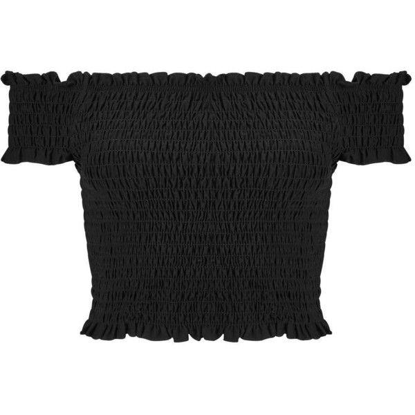 Miss Selfridge Black Shirred Bandeau Crop Top (265 SEK) ❤ liked on Polyvore featuring tops, crop top, black, miss selfridge tops, cut-out crop tops, bandeau crop top and shirred crop top