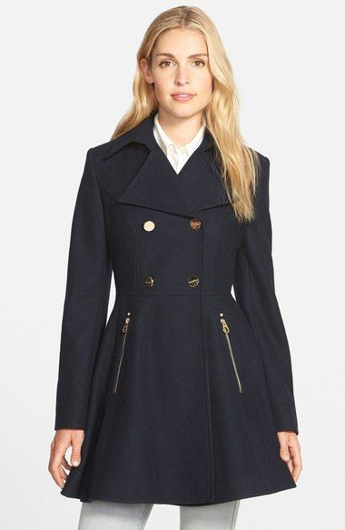 Laundry By Shelli Segal Double Breasted Fit Flare Coat Regular
