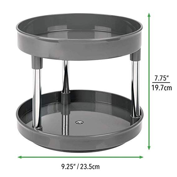 Mdesign Plastic Spinning 2 Level Lazy Susan Turntable Storage Tray Rotating Organizer For Bathroom Vanity Counter In 2020 Mdesign Lazy Susan Food Storage Containers