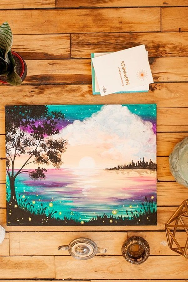 40 Easy Acrylic Canvas Painting Ideas #watercolorart