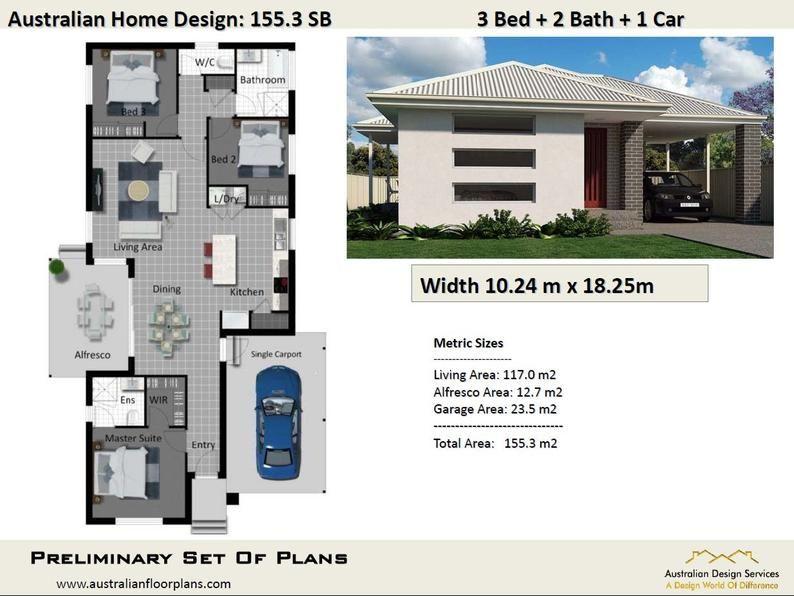 155 3 M2 3 Bedroom Single Carport Concept House Plans In 2019 Bedroom Floor Plans 3 Bedroom Floor Plan House Plans