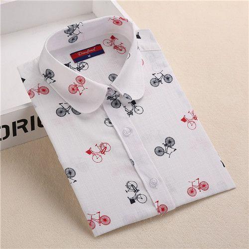 15 Colors Floral Shirts Women Print Linen Cotton Blouses Long Sleeve Women Tops White Fashion Female Blouse Plus Size 5XL