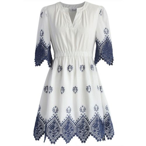 Chicwish Boho Garden Lace Trimmed Dress featuring polyvore fashion clothing dresses white white boho dress cutout sleeve dress bohemian dress lace trim dress boho style dresses