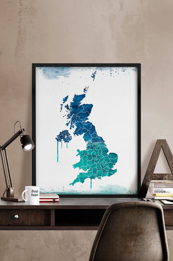 United Kingdom map Art Print UK Watercolor map UK by iPrintPoster