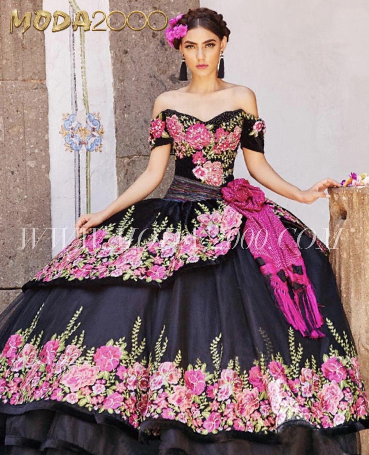 061f4b34376 Off the shoulder floral charro quinceañera dress