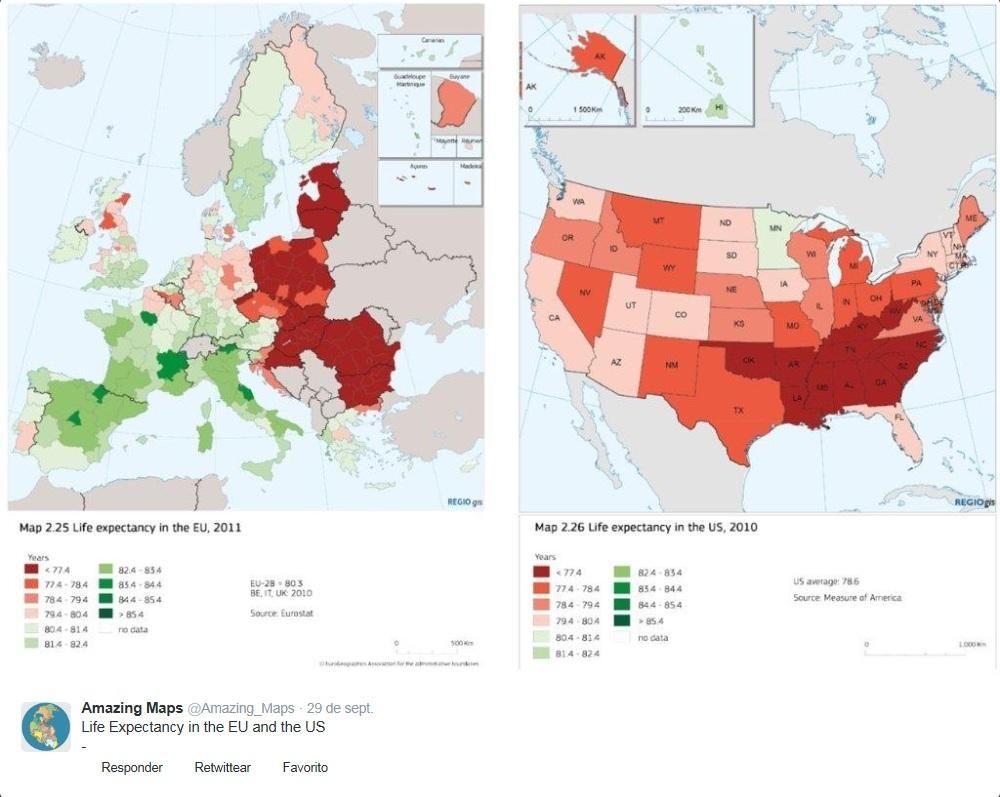 #Mapa de la esperanza de vida en la Unión Europea y estados Estados Unidos vía @Amazing_Maps