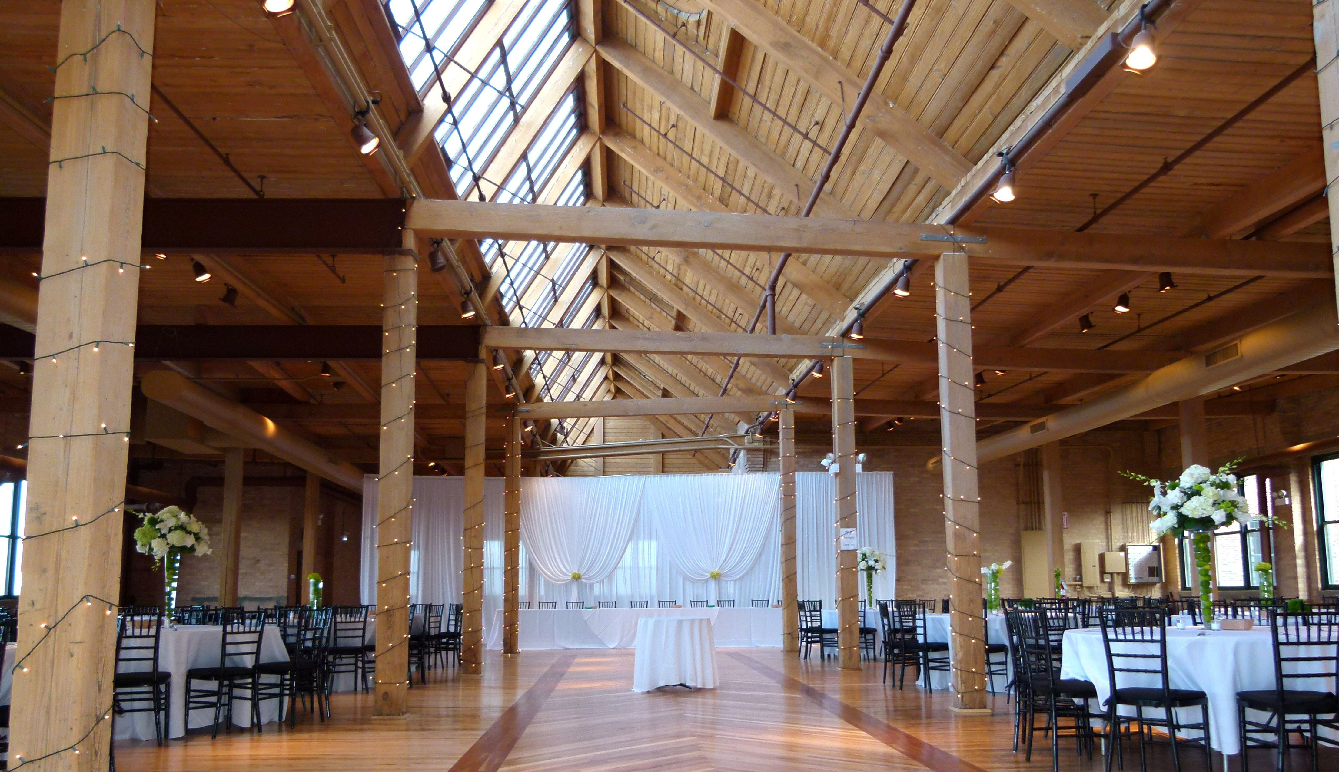 Skyline Loft that is decorated for wedding. Chicago