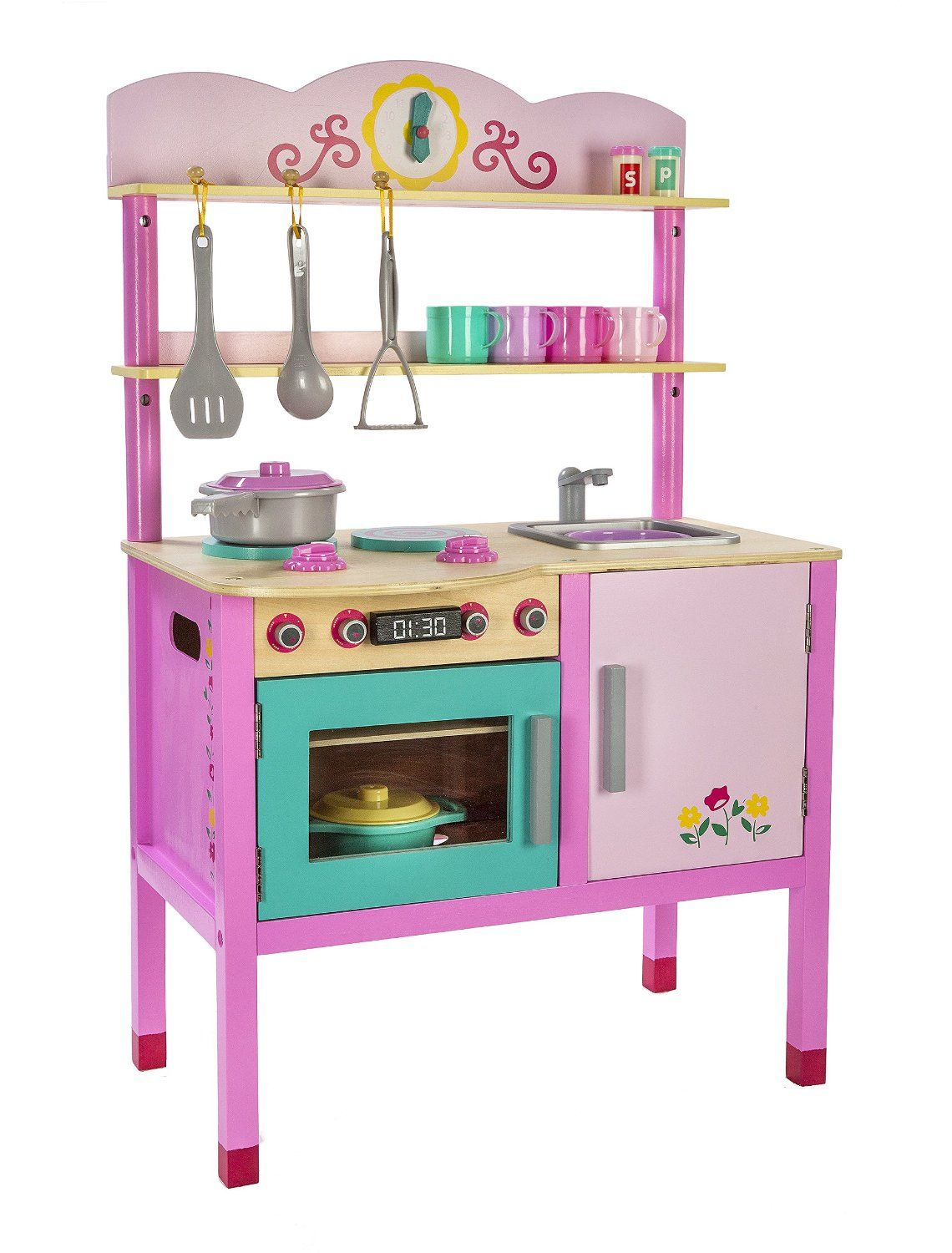Amazon Com Play Circle Little Chef S Kitchen Teaches And Fosters Creativity 100 Bpa And Pvc Free Plastic Accessories Wo Home Decor Wooden Chefs Kitchen