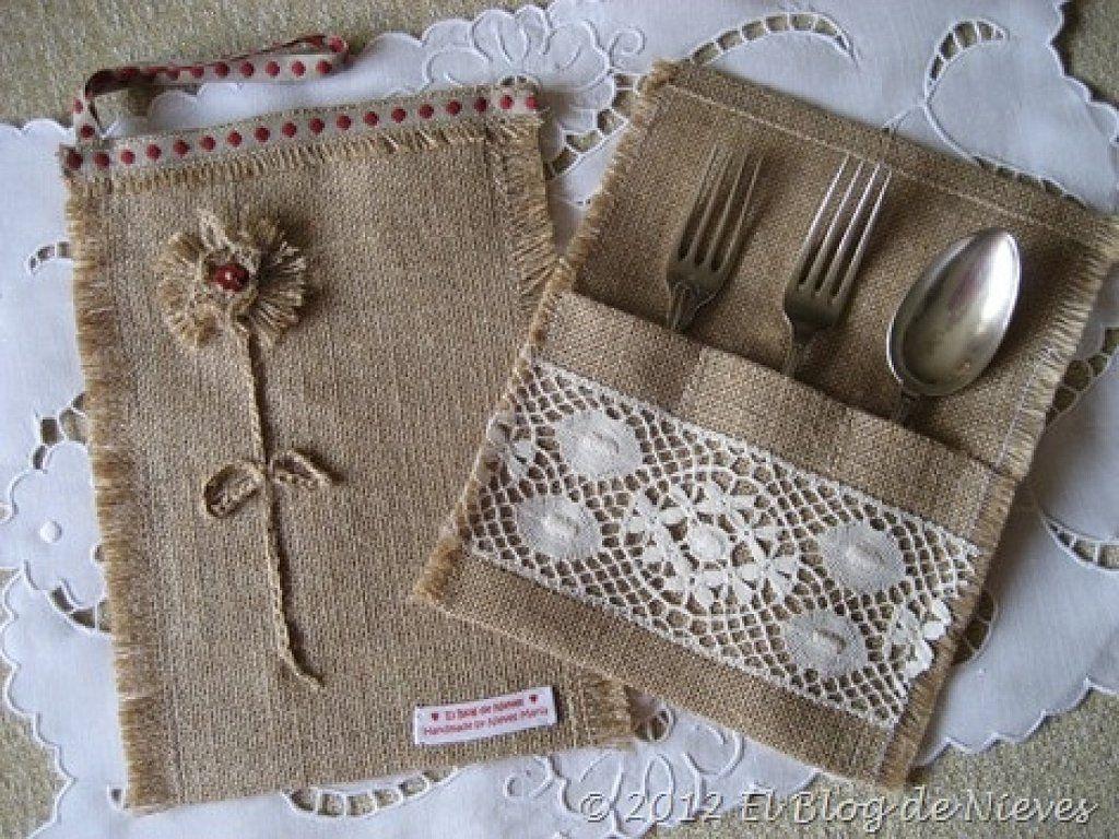 Porta cubiertos arpillera y crochet arpillera yute - Saco arpillera ...